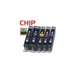 PGI-5BK/CLI-8BKCMY 5er Bundle mit CHIP kompatibel