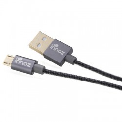 Innoz USB-Micro 2.4A Quick-Charge vergoldet 200cm Ladekabel grau